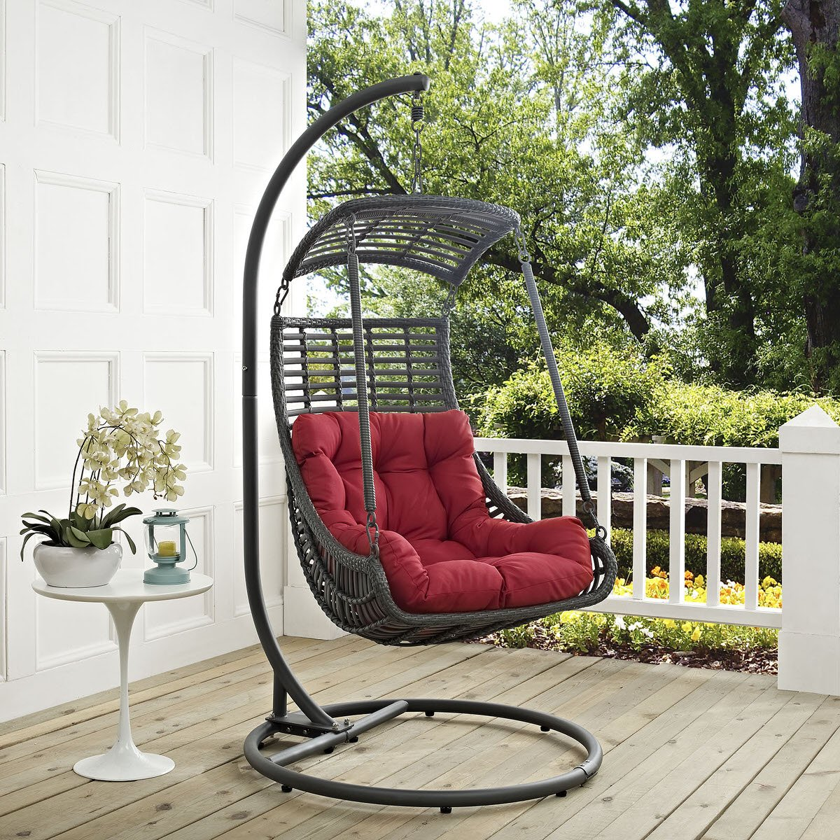 Swinging Chair Outdoor Jungle Outdoor Patio Swing Chair With Stand Red By Modern Living