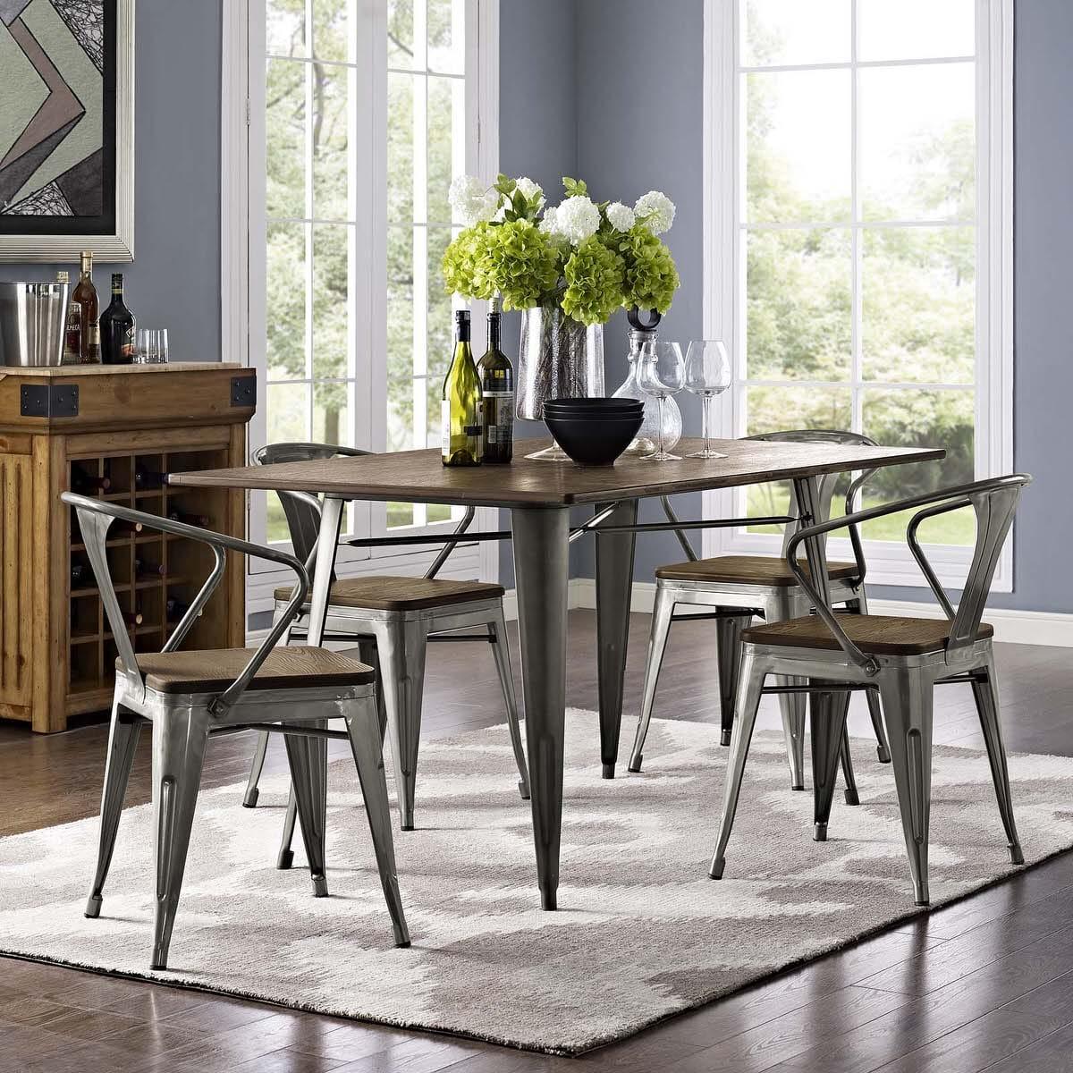 bamboo dining chair aluminum webbing promenade set of 4 gunmetal by modern living
