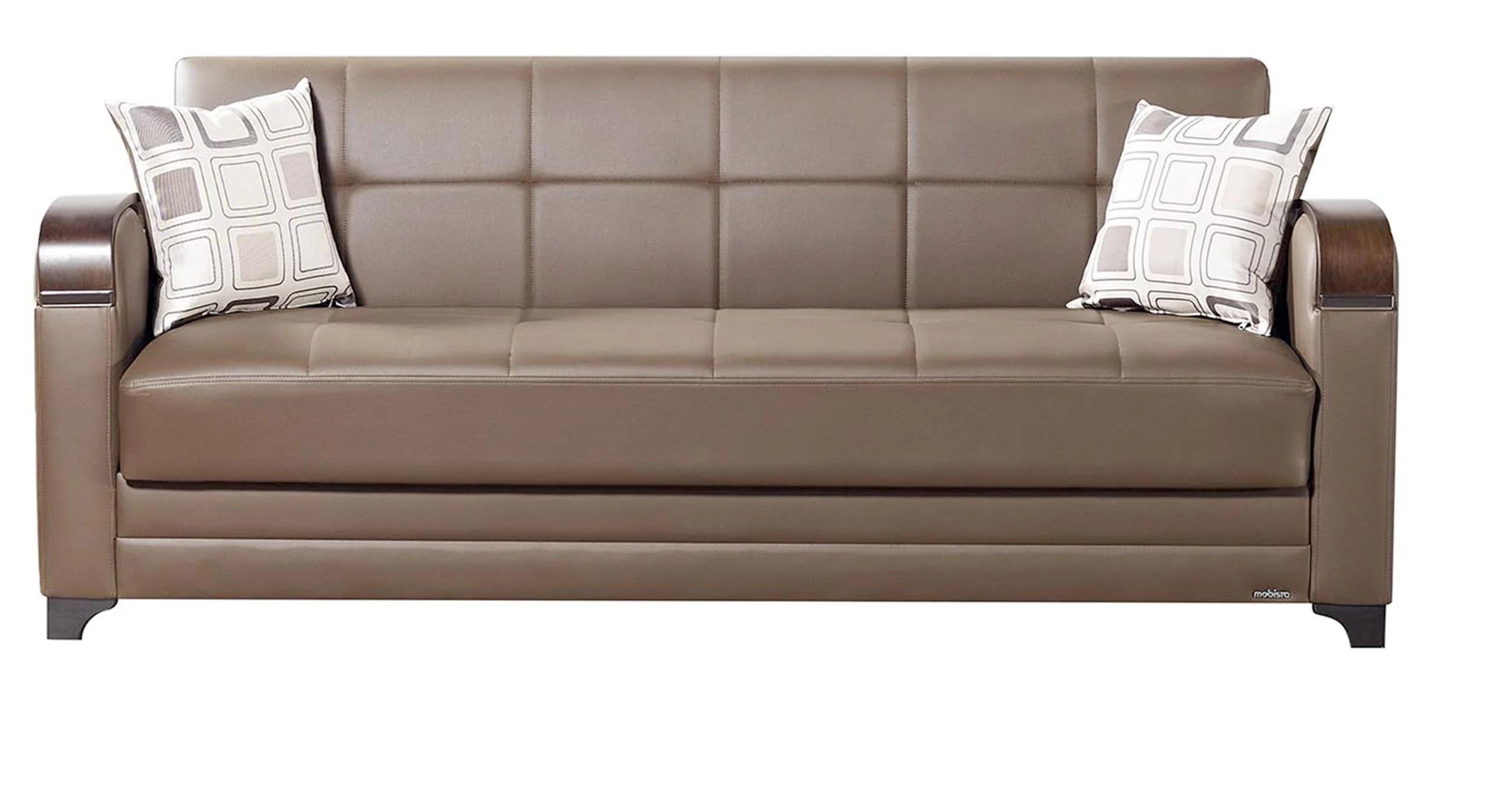faux leather sofa india eames 3 seat replica leatherette bed dark brown futon