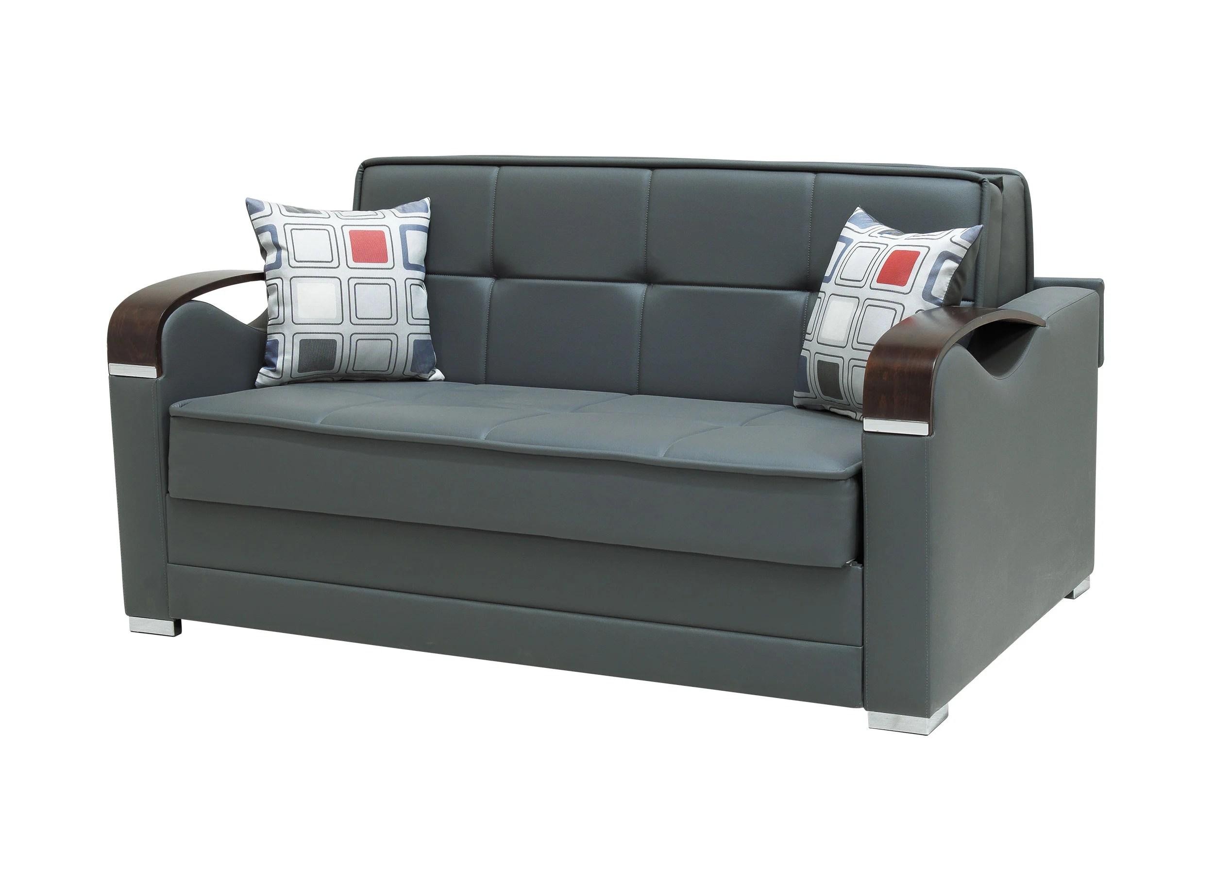 leatherette sofa durability donghia divan etro prime prestige dark gray loveseat bed by