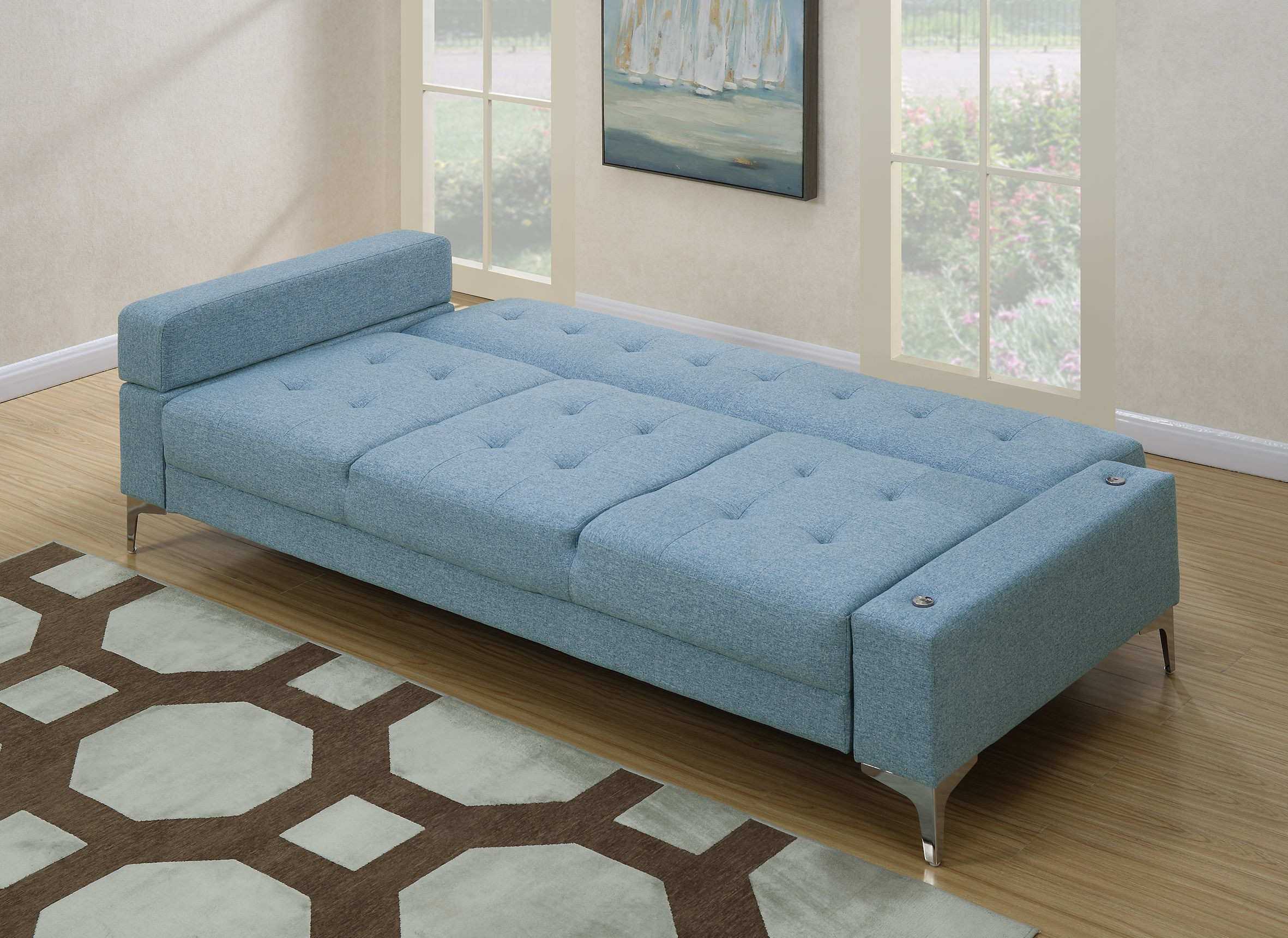 convertible sofa beds new york foam flip canada f6829 blue bed by poundex