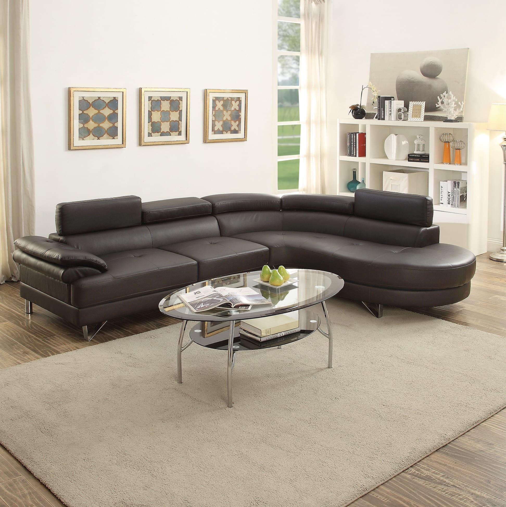 f6969 espresso 2 pcs sectional sofa set by poundex