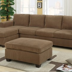 Large Sectional Sofa With Ottoman Chairs Behind F7146 Tan Set By Poundex