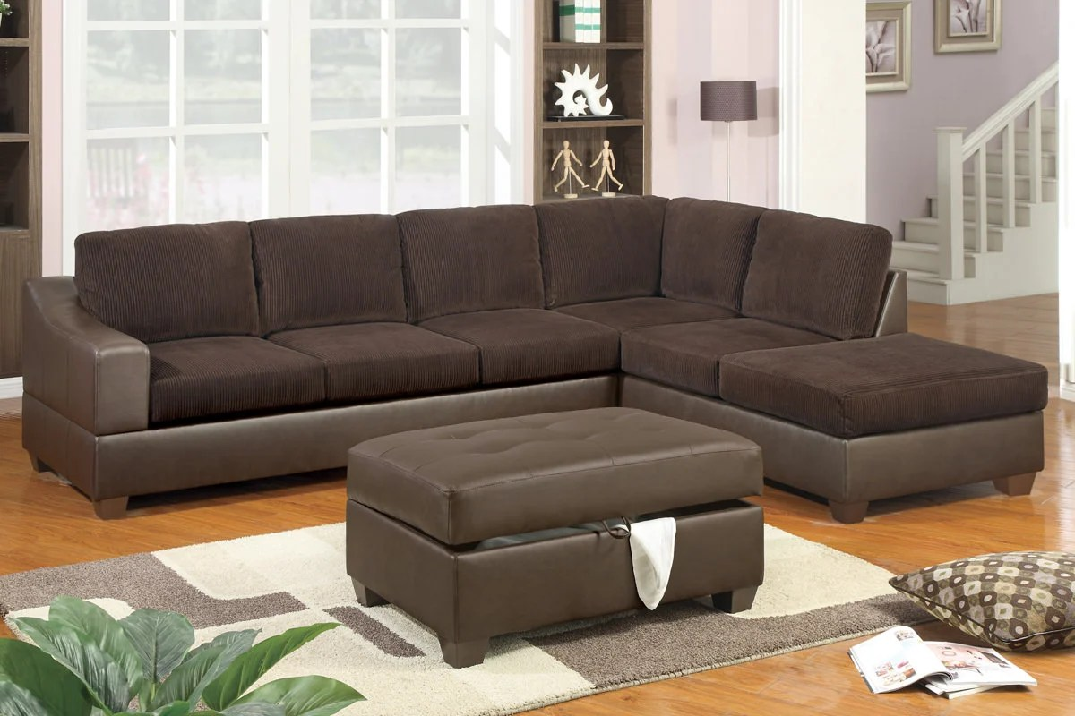 corey chocolate brown sectional sofa 3 seat sofas f7147 set by poundex