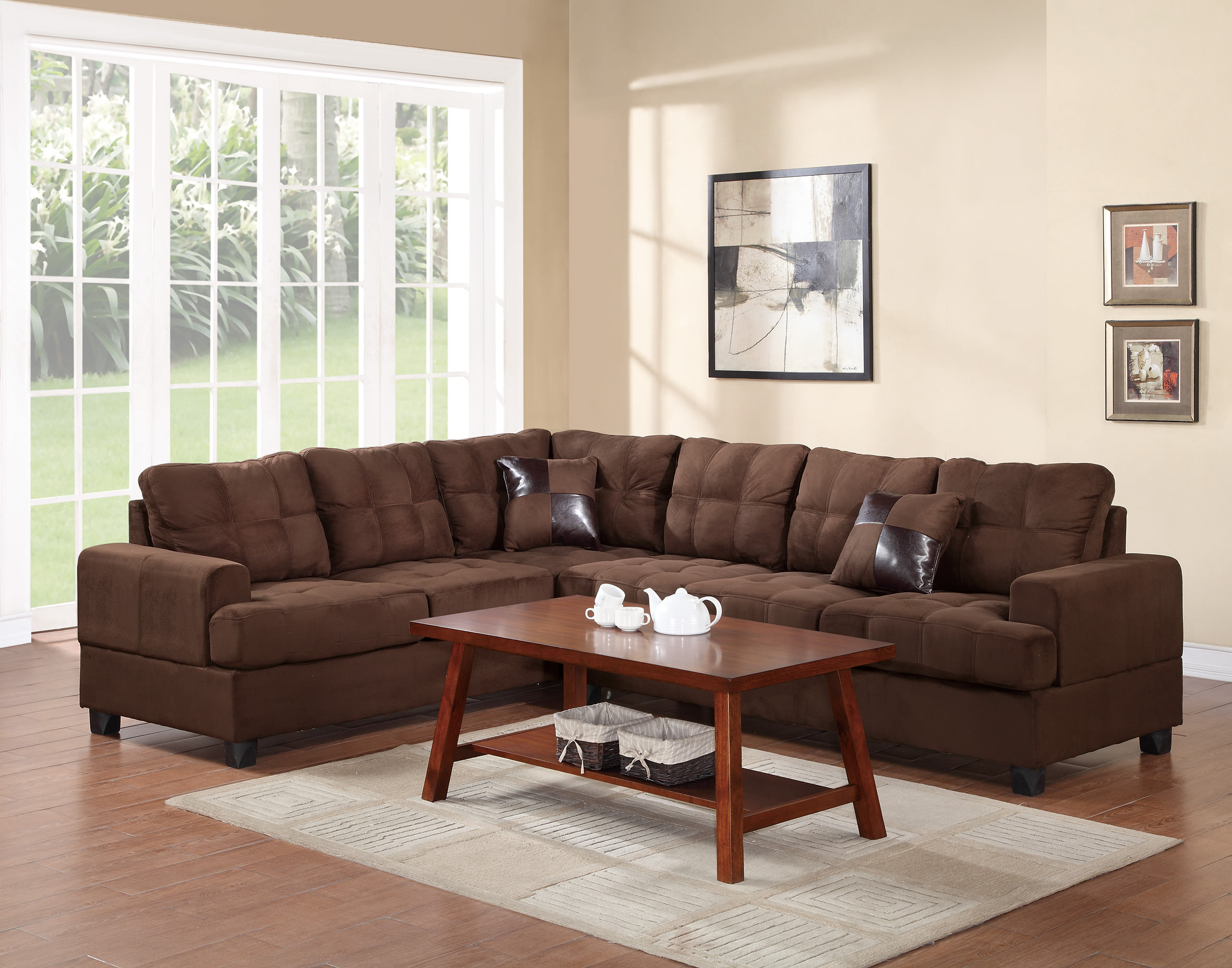 corey chocolate brown sectional sofa australian made beds sydney f7627 by poundex