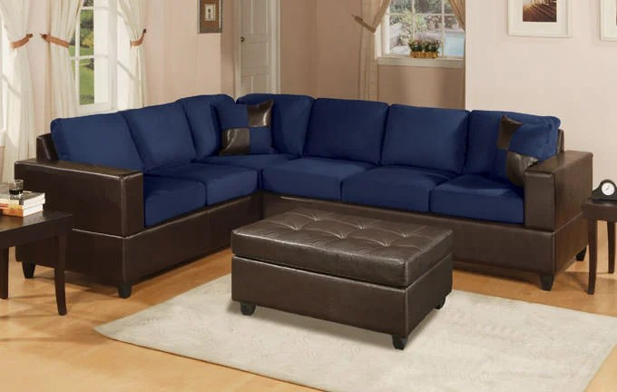 modern sofa set images silver leather f7637 navy blue sectional by poundex