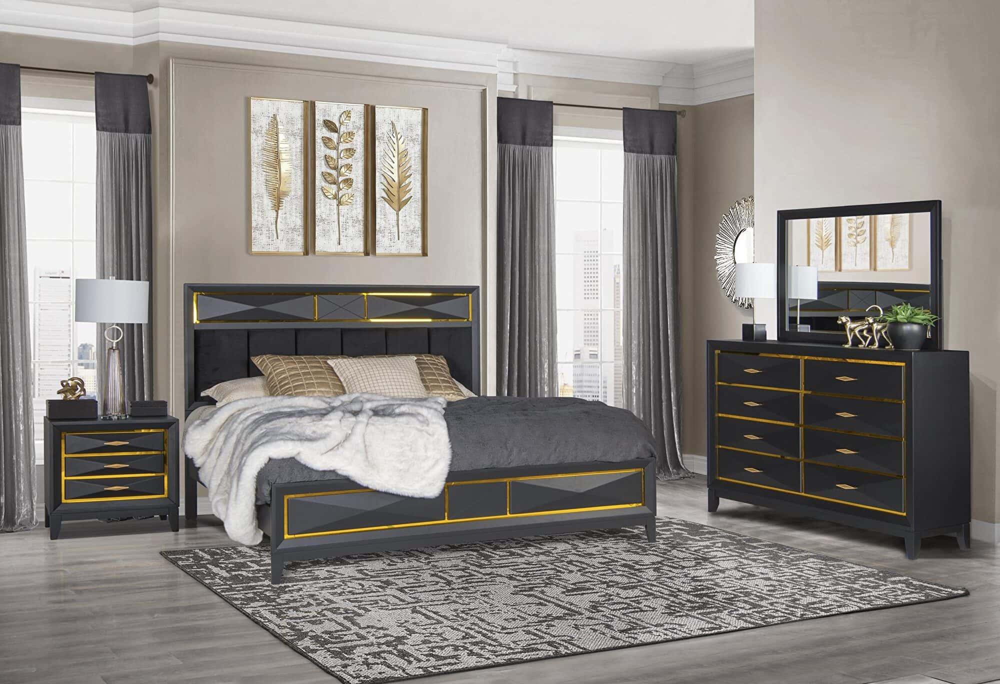 ebony matte black bedroom set by global furniture