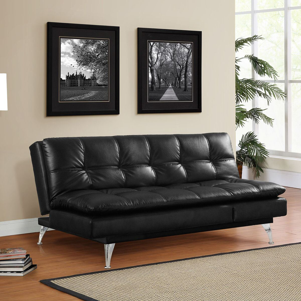 leather sofa sams club casters wheels gabrielle setra bed black by lifestyle solutions