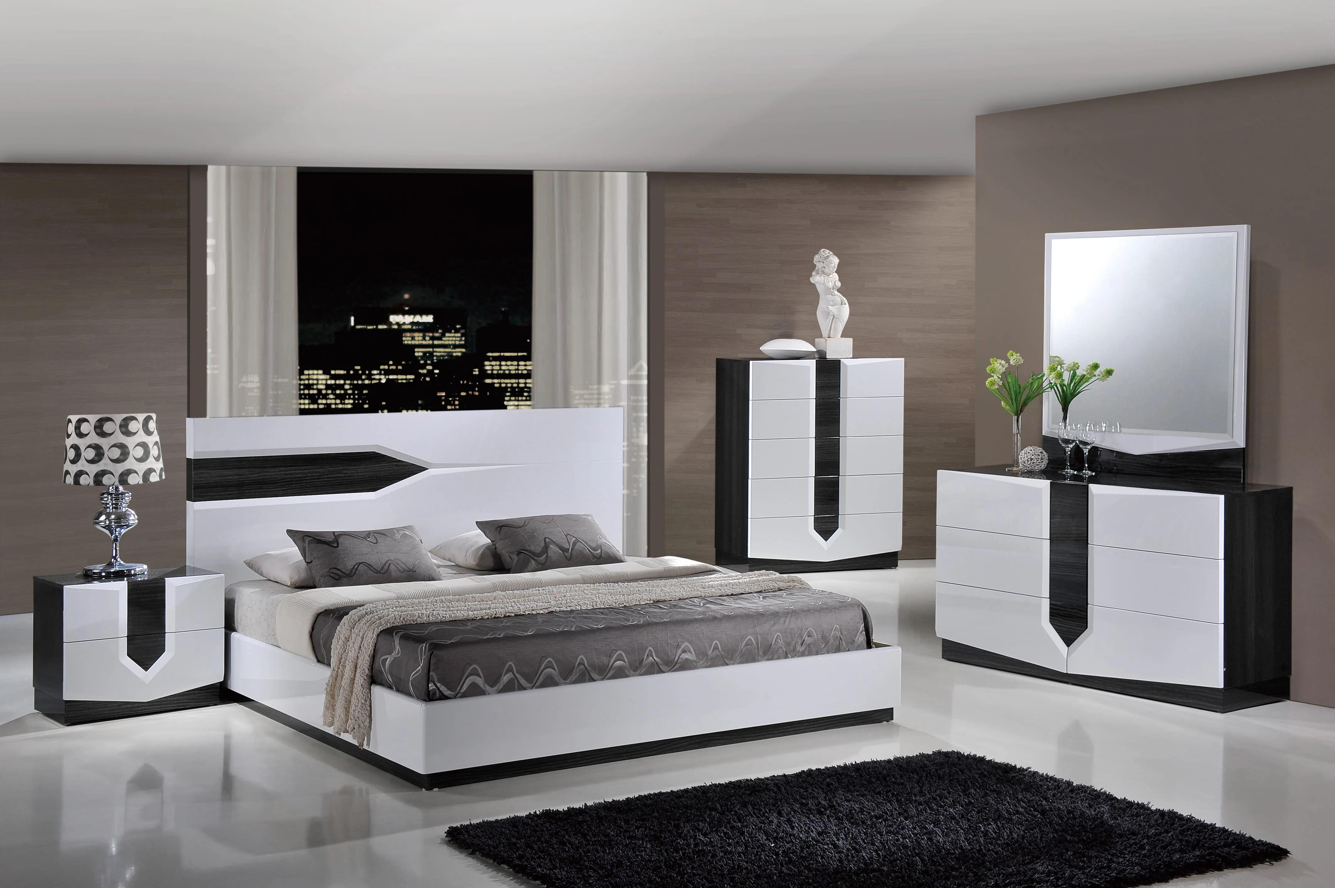 Hudson Zebra Grey White Glossy Bedroom Set By Global Furniture