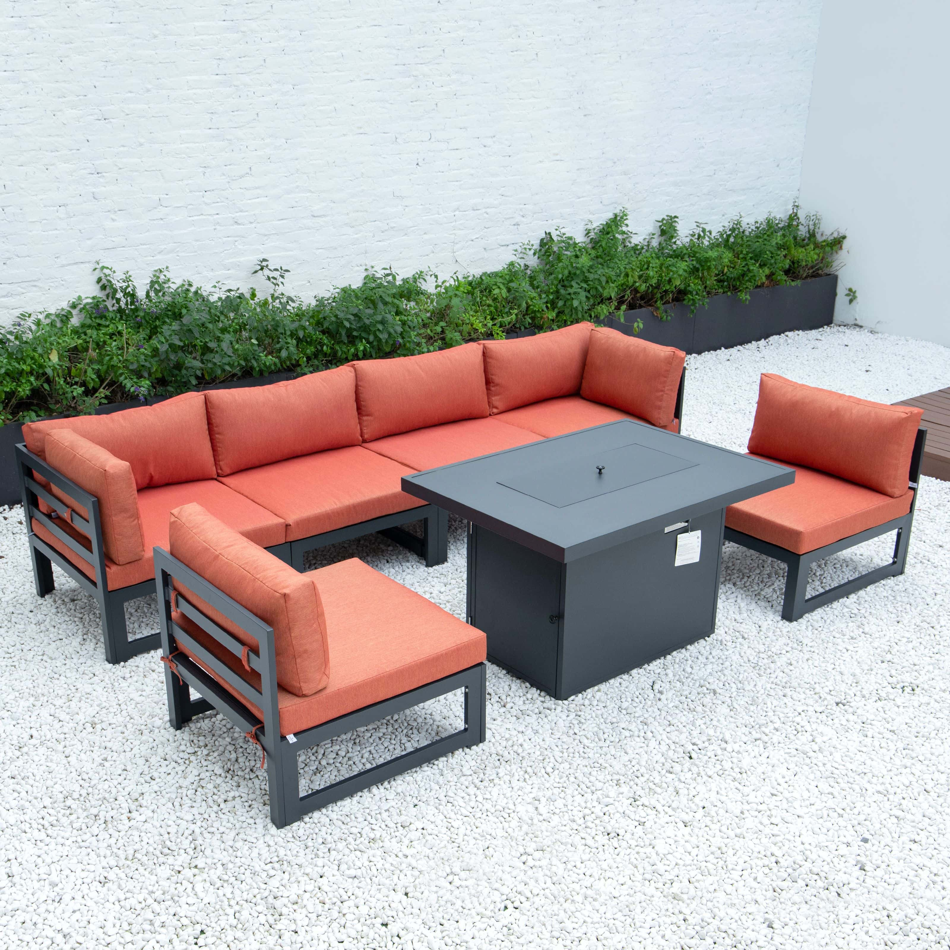chelsea 7 piece patio sectional and fire pit table black aluminum with cushions orange by leisuremod