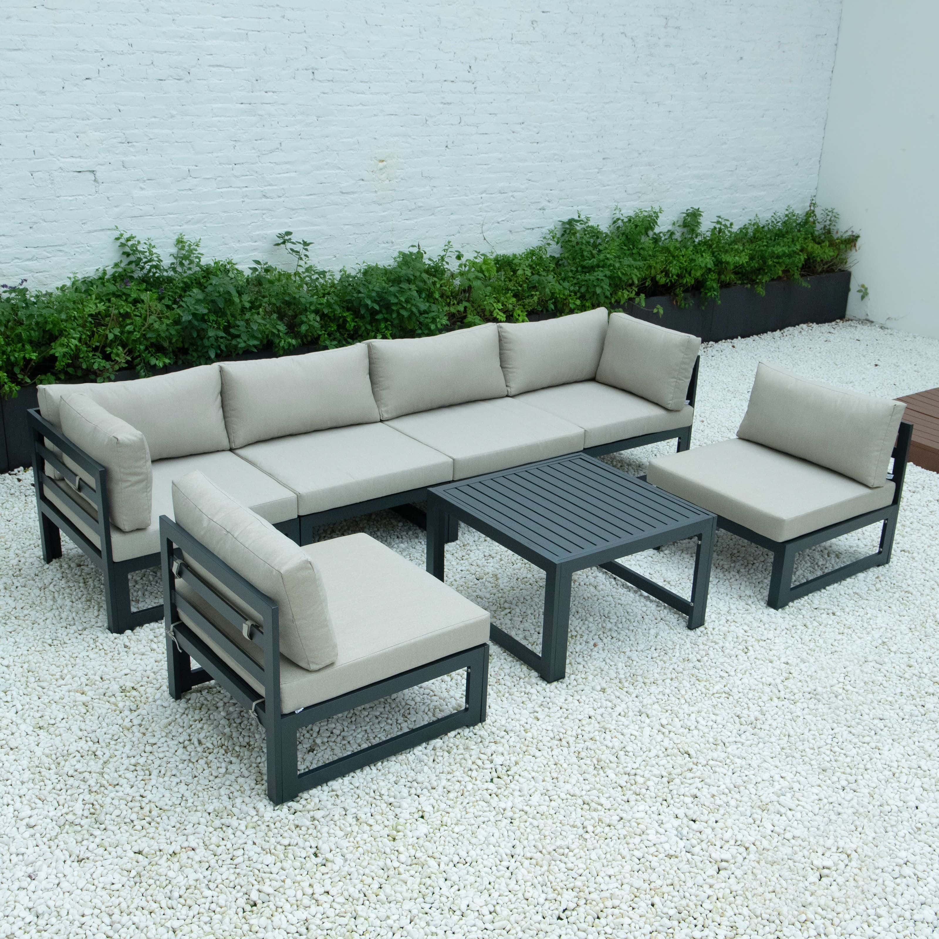 chelsea 7 piece patio sectional and coffee table set black aluminum with cushions beige by leisuremod