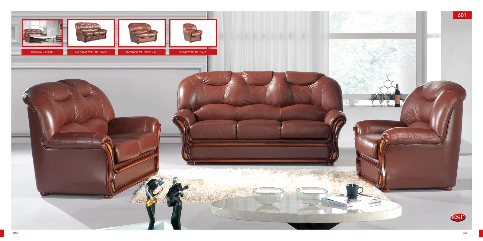 leather sofa furniture stores nyc hayden sectional reviews bed 601 brown by esf