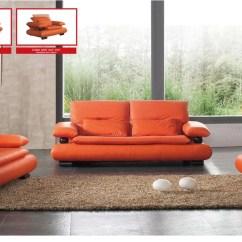 Polaris Contemporary Leather Sofa Set Plastic Slipcovers For Sofas Orange   Roselawnlutheran