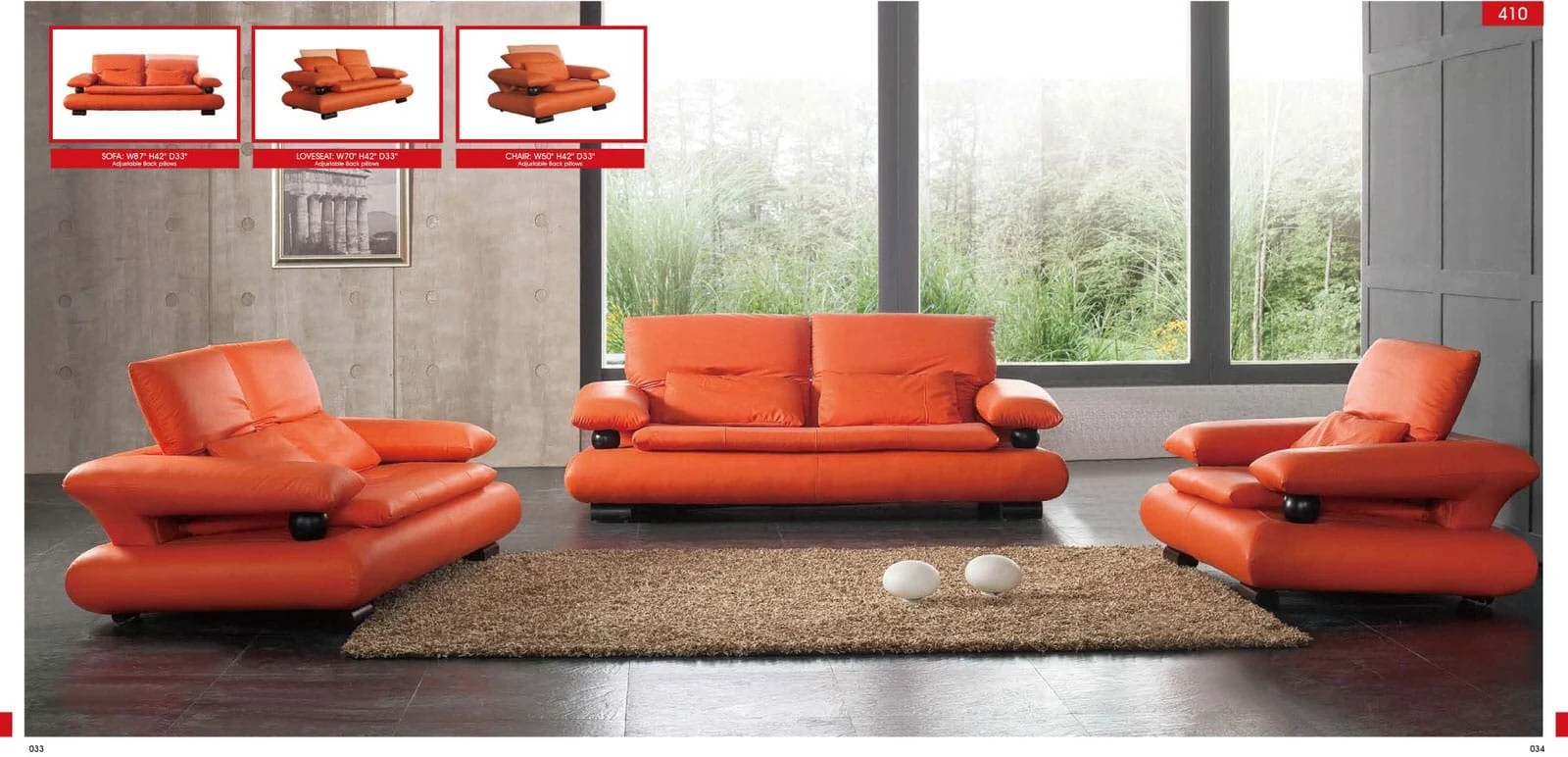 Orange Living Room Chair 410 Orange Leather Sofa By Esf
