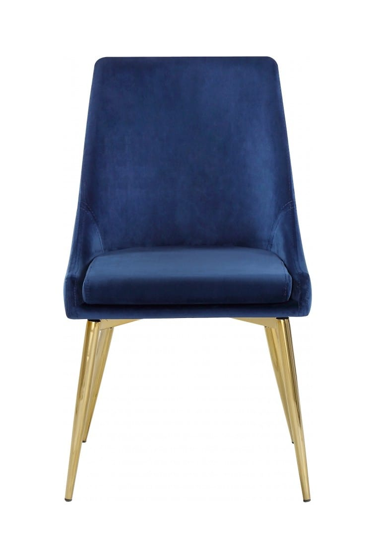 medium resolution of karina navy blue gold velvet dining chairs set of 2 by meridian furniture