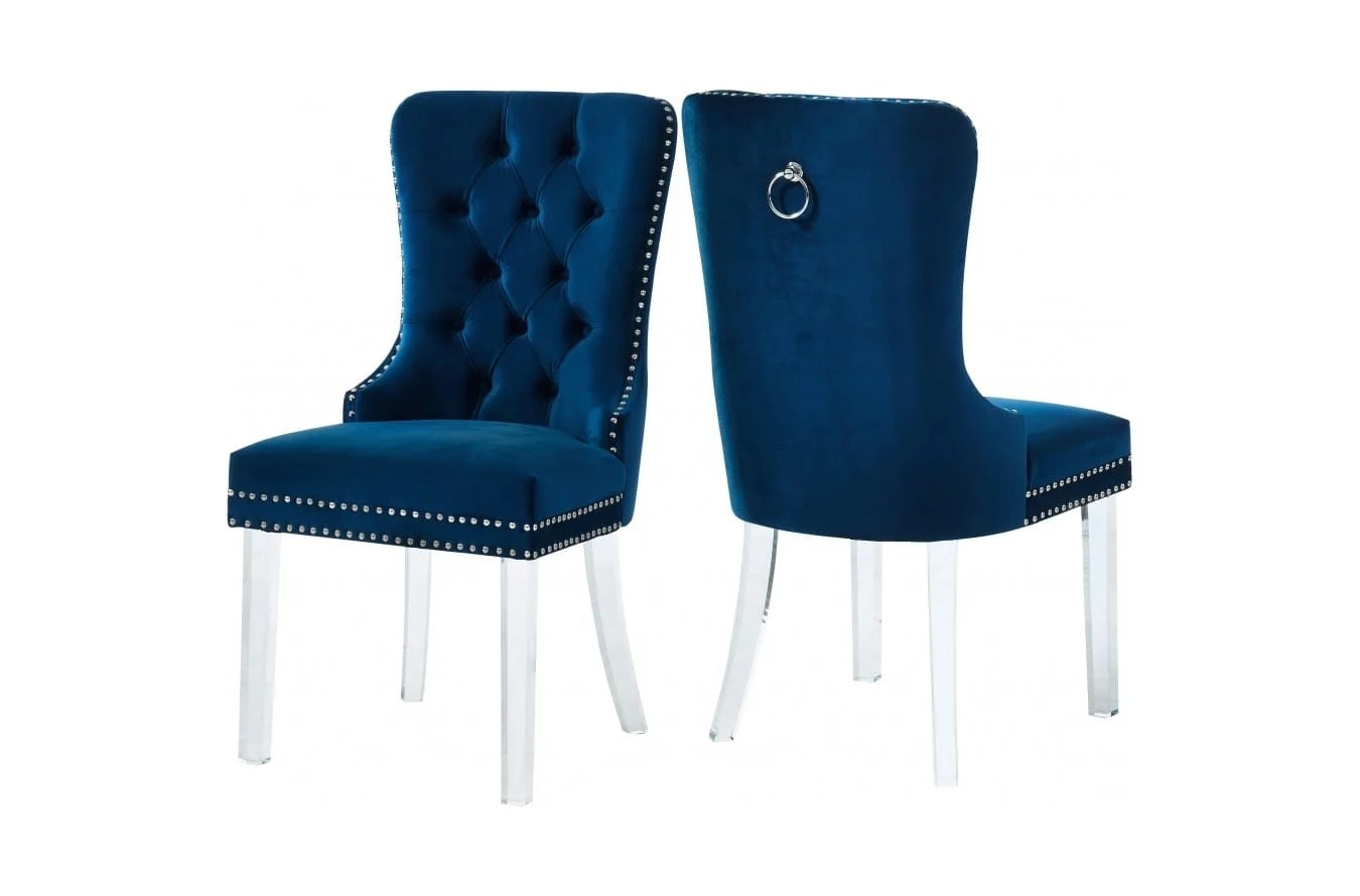 Miley Navy Blue Velvet Dining Chairs W Acrylic Legs Set Of 2 By Meridian Furniture