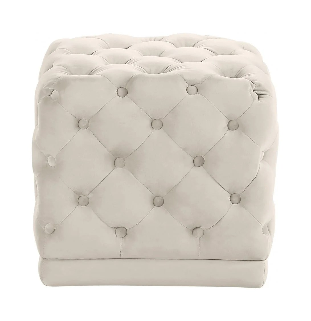 stella cream velvet ottoman stool by meridian furniture
