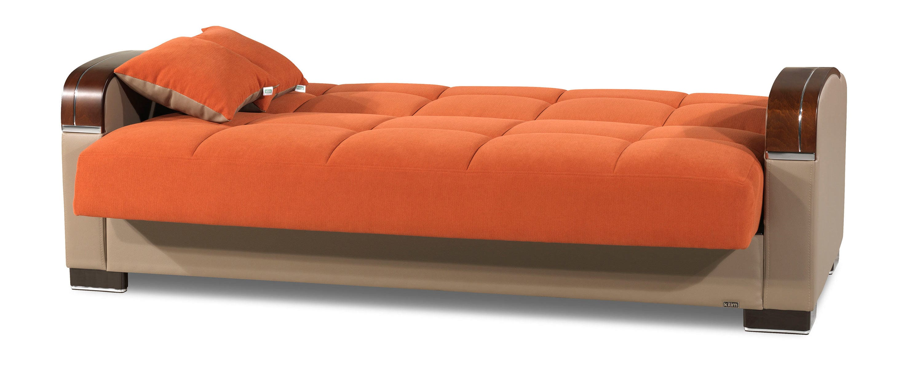 orange sofa bed duck egg blue cushions divan deluxe signature by