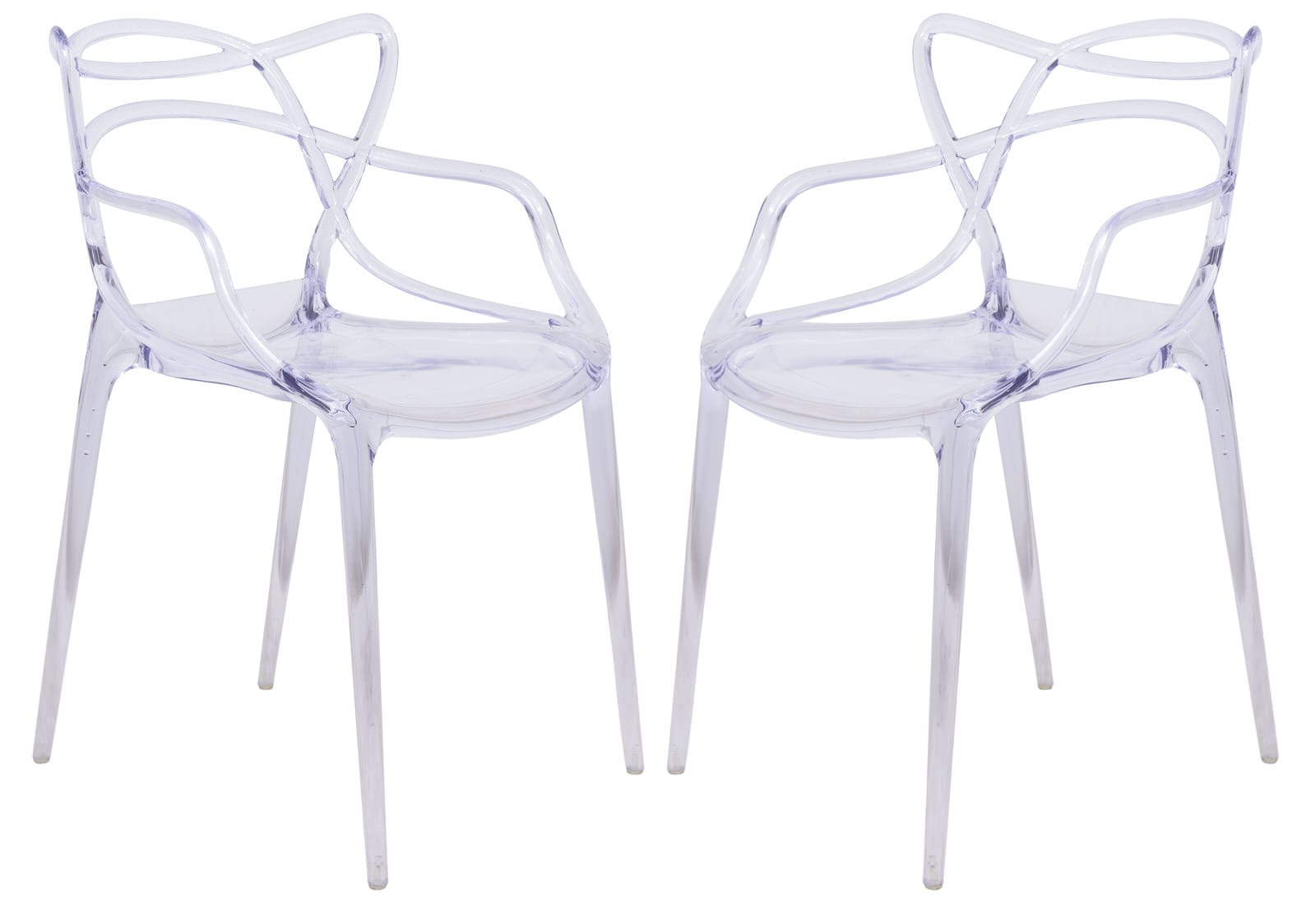 Plastic Clear Chair Milan Modern Wire Design Clear Chair Set Of 2 By Leisuremod