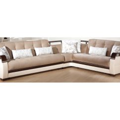 Light Brown Sofa Jordan Convertible Sleeper Sectional Microfiber Modern