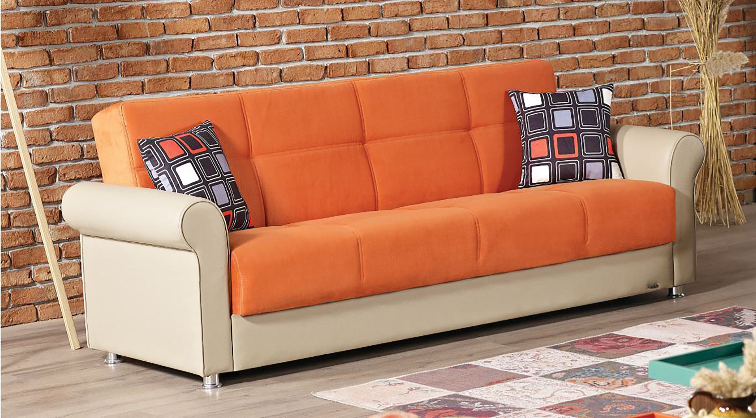 orange sofa bed sleigh loveseat fabric b tufty time corner clic