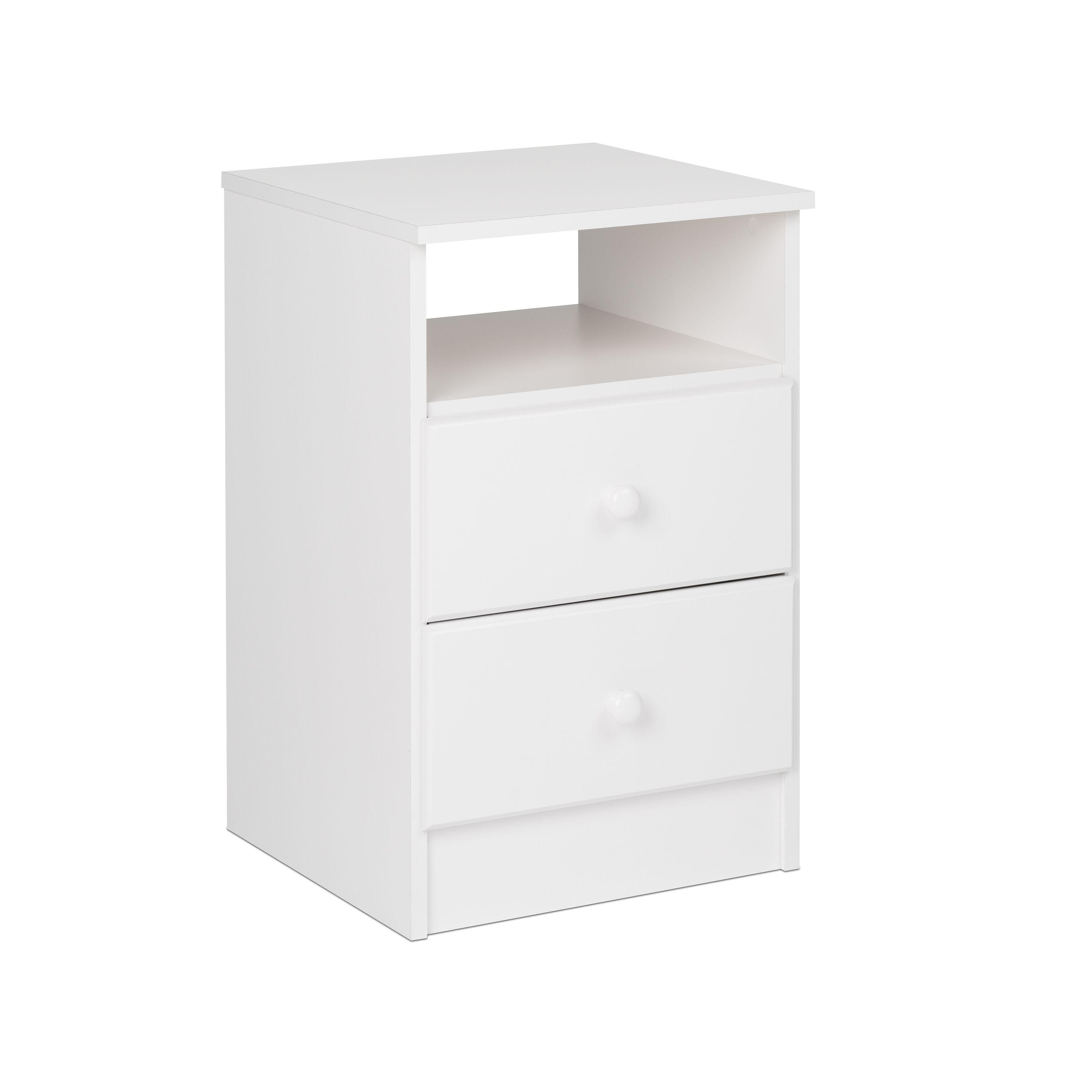 Astrid White 2 Drawer Nightstand W Acrylic Knobs By Prepac