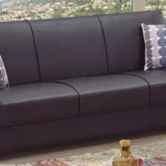 Empire Furniture Sofa Cheap Futon Bed Uk Queens Dark Brown Leatherette By Usa