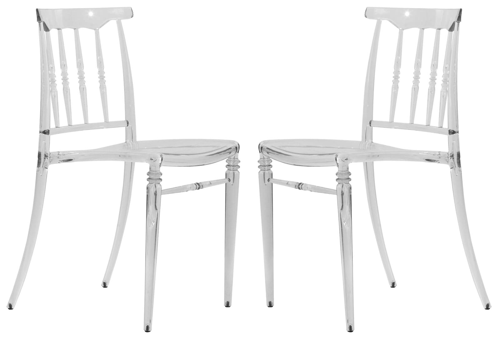 Lucite Chair Spindle Modern Lucite Clear Dining Chair Set Of 2 By Leisuremod
