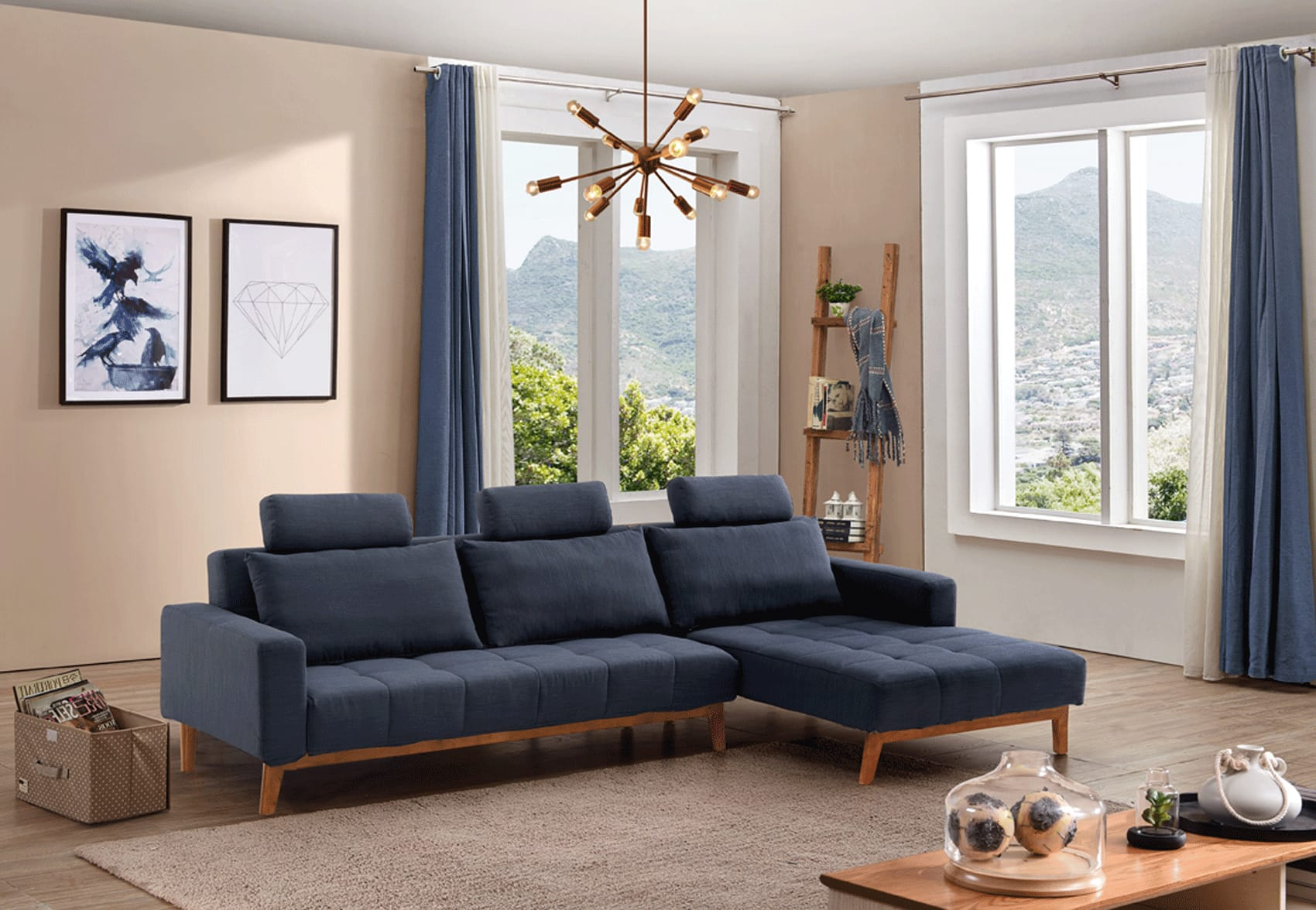 Summer Blue Fabric Sectional Sofa Bed By Esf