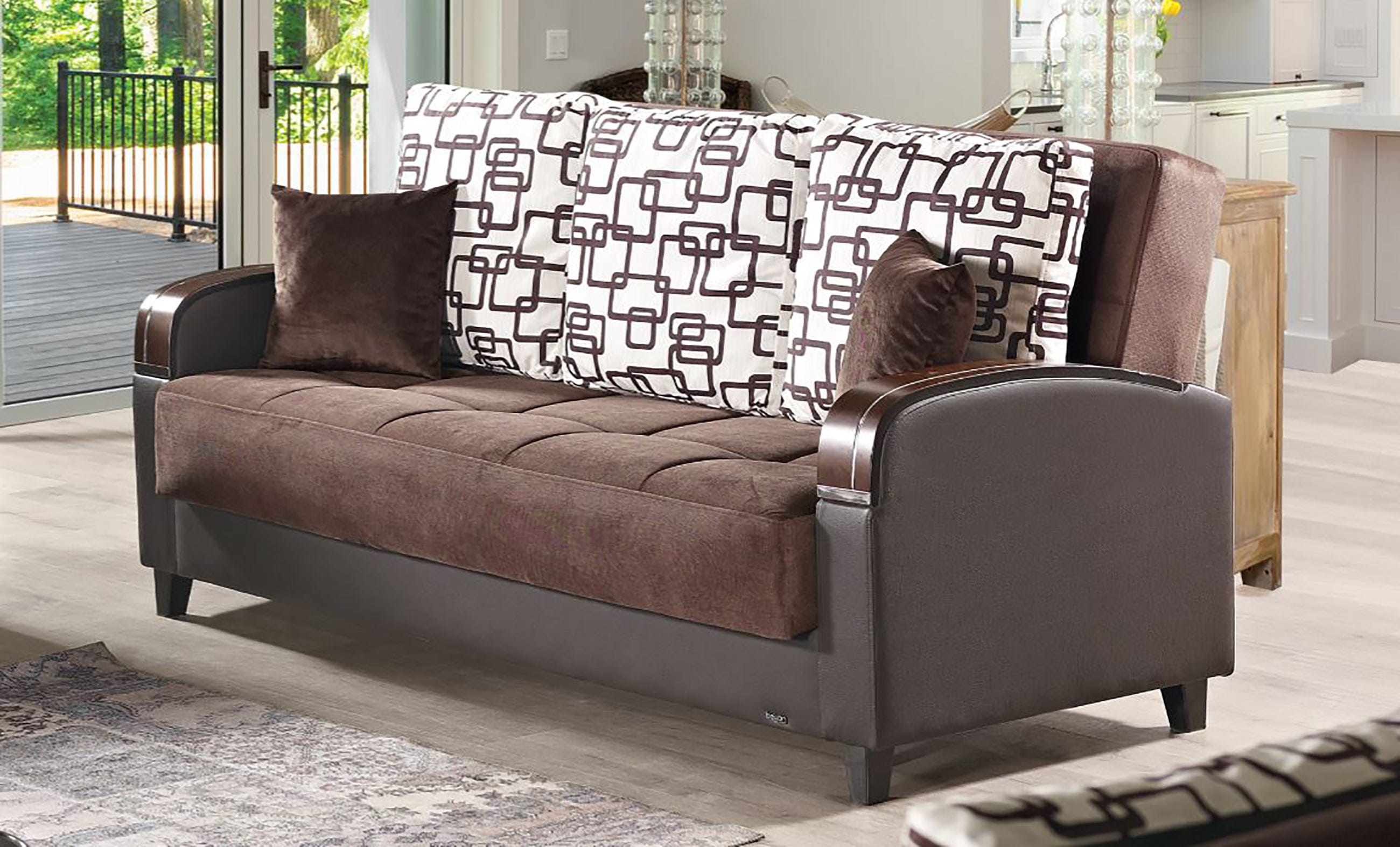 empire furniture sofa modern comfortable leather soho brown fabric bed by usa