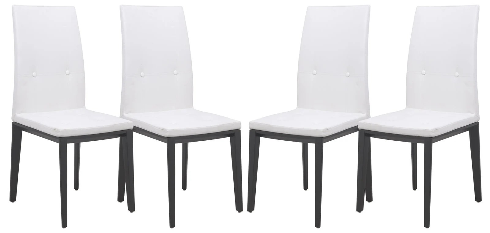 White Dining Chairs Somers Contemporary Faux Leather White Dining Chair Set Of 4 By Leisuremod