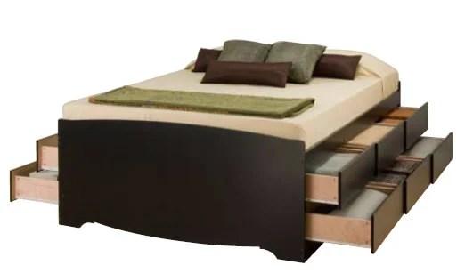 Full Tall Platform Storage Bed 12 Drawers By Prepac
