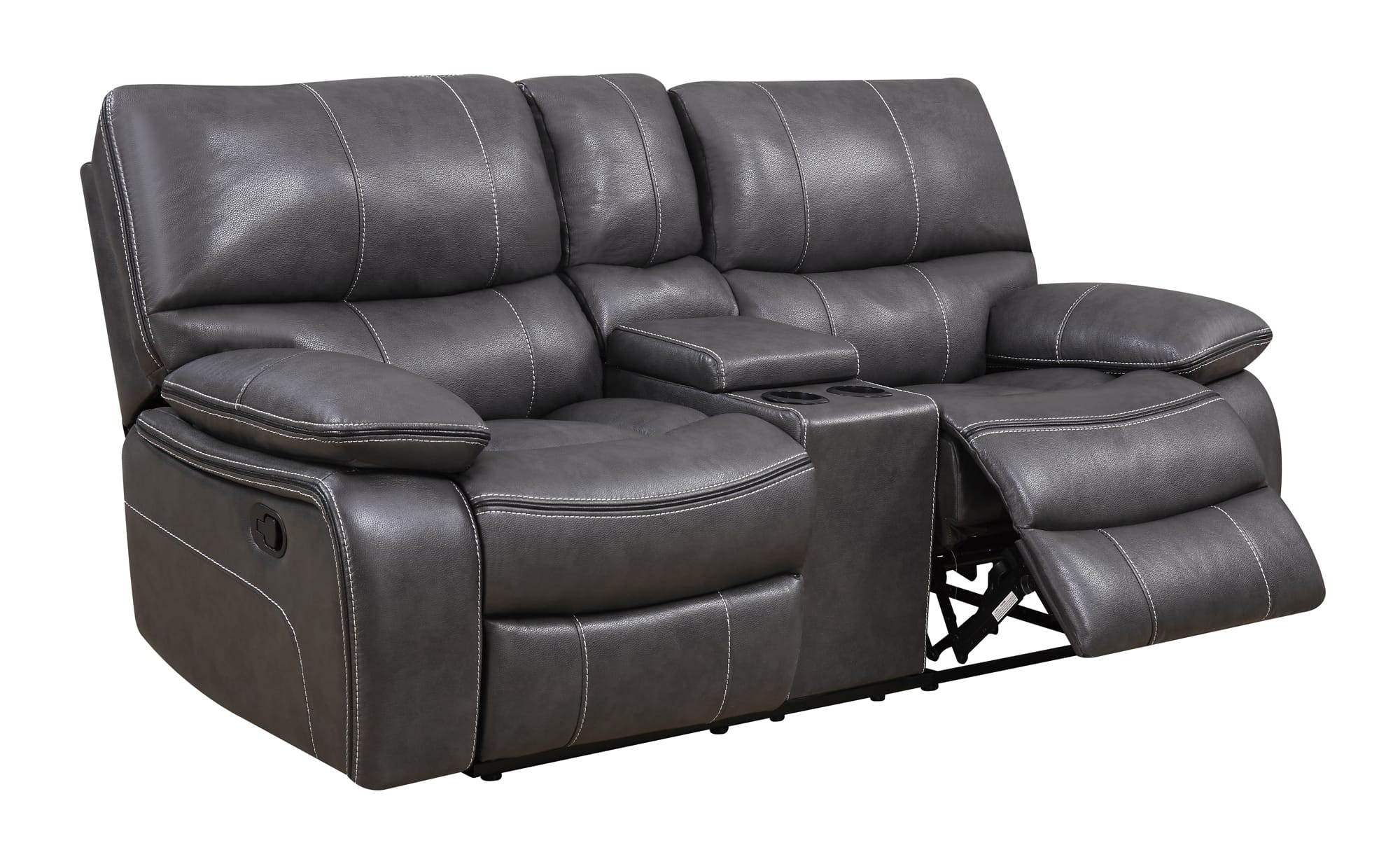 Gray Recliner Chair U0040 Grey Black Leather Console Reclining Loveseat By