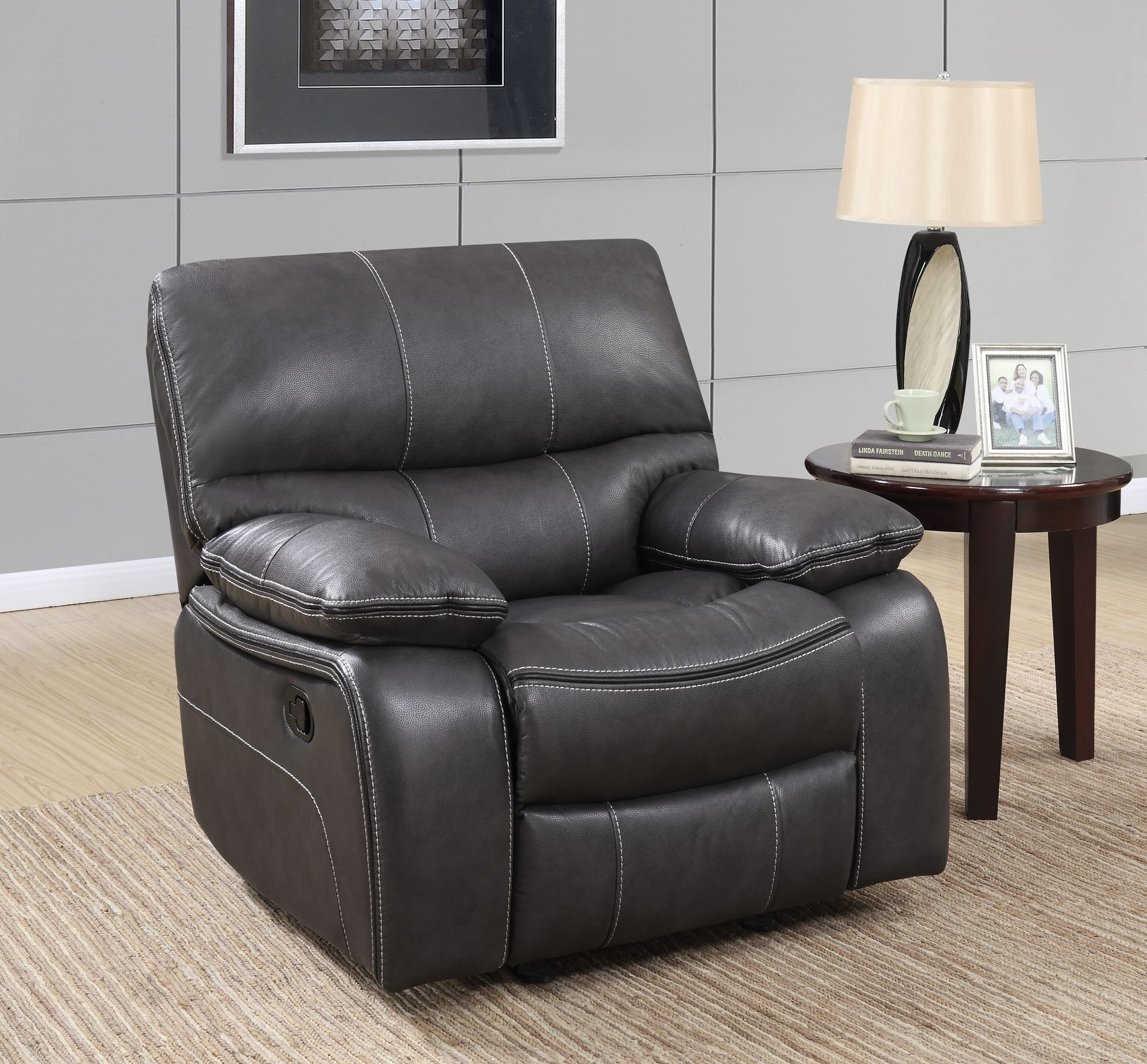 Gray Recliner Chair U0040 Grey Black Leather Glider Reclining Chair By Global