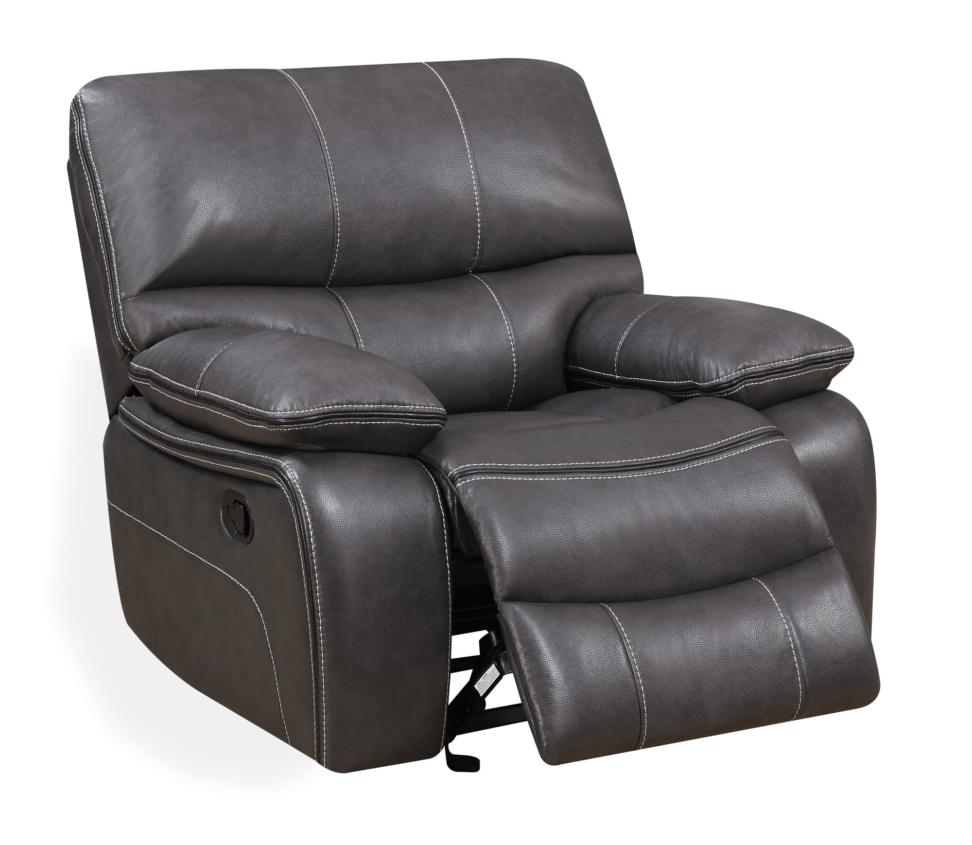 gray leather sofa recliner turkish u0040 grey black glider reclining chair by global