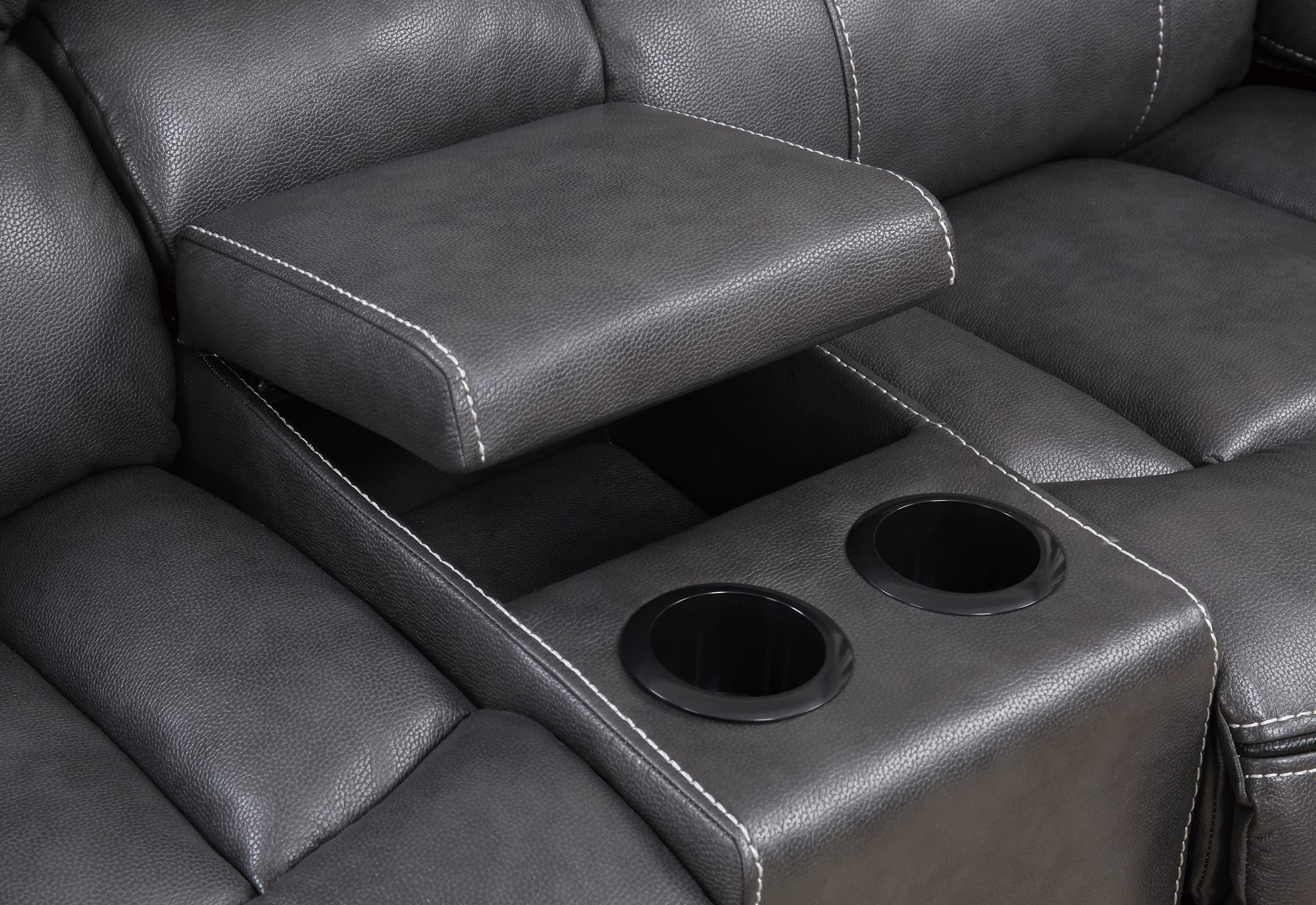 black reclining sofa with console pottery barn basic slipcovered reviews u0040 grey leather loveseat by
