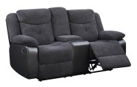U1566 Mouse Fabric Console Reclining Loveseat by Global