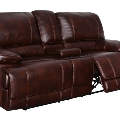 Reclining Sofa Manufacturers Usa Harden Sleeper U1953 Coffee Leather Gel Console Loveseat By