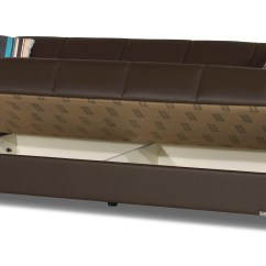 Leatherette Sofa Mage Price Uptown Brown Convertible By Casamode