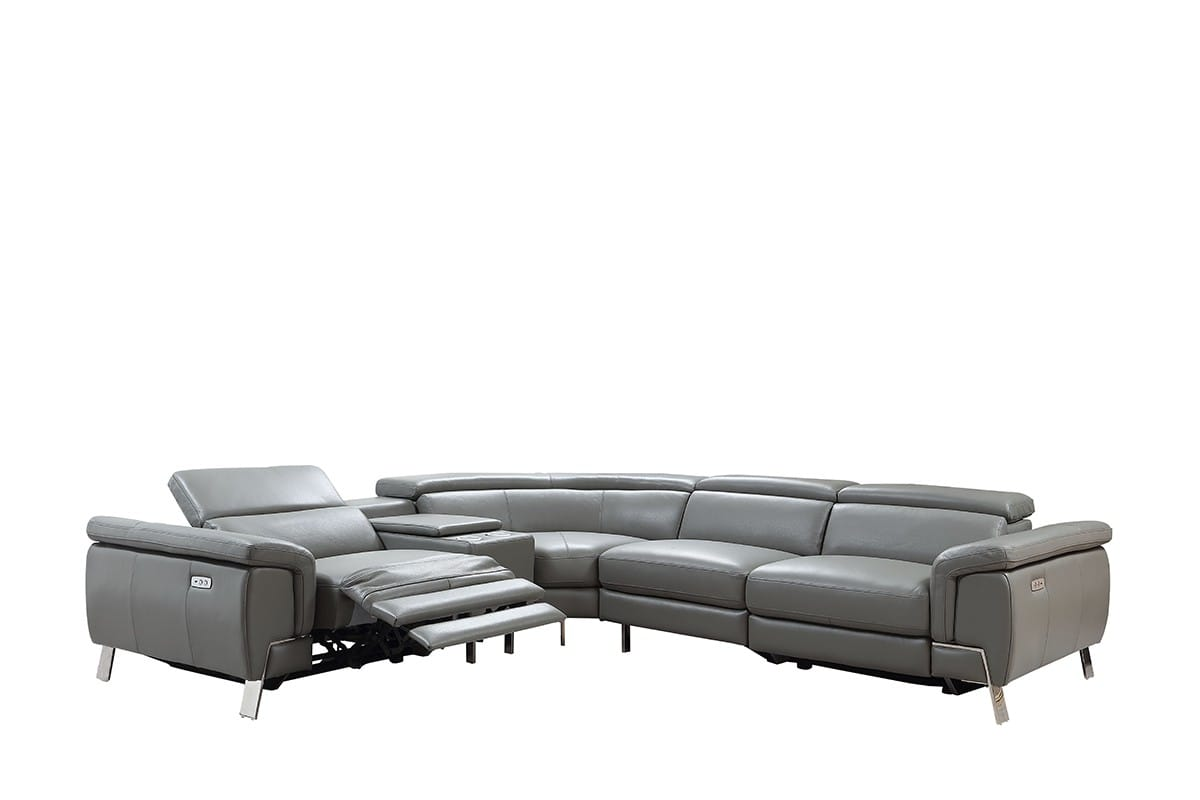 divani casa easton modern dark grey leather sectional sofa w 2 recliners by vig furniture