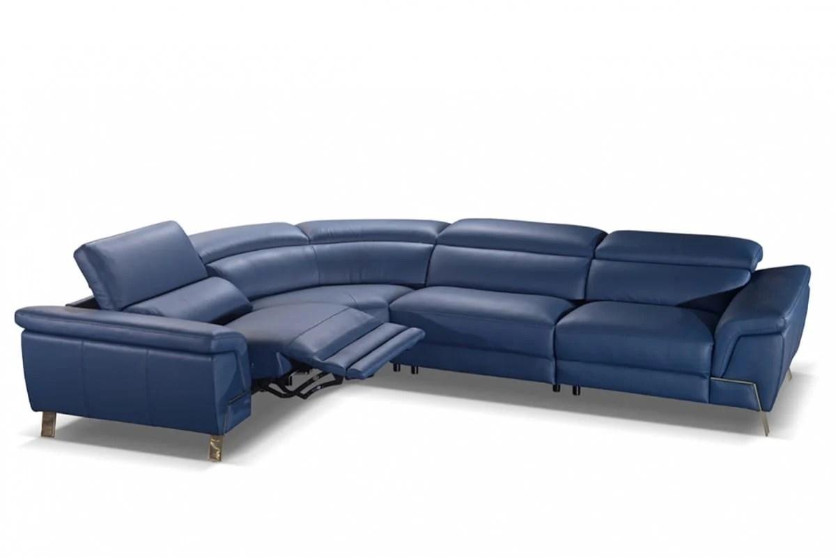 accenti italia azur italian modern blue leather sectional sofa w recliner by vig furniture