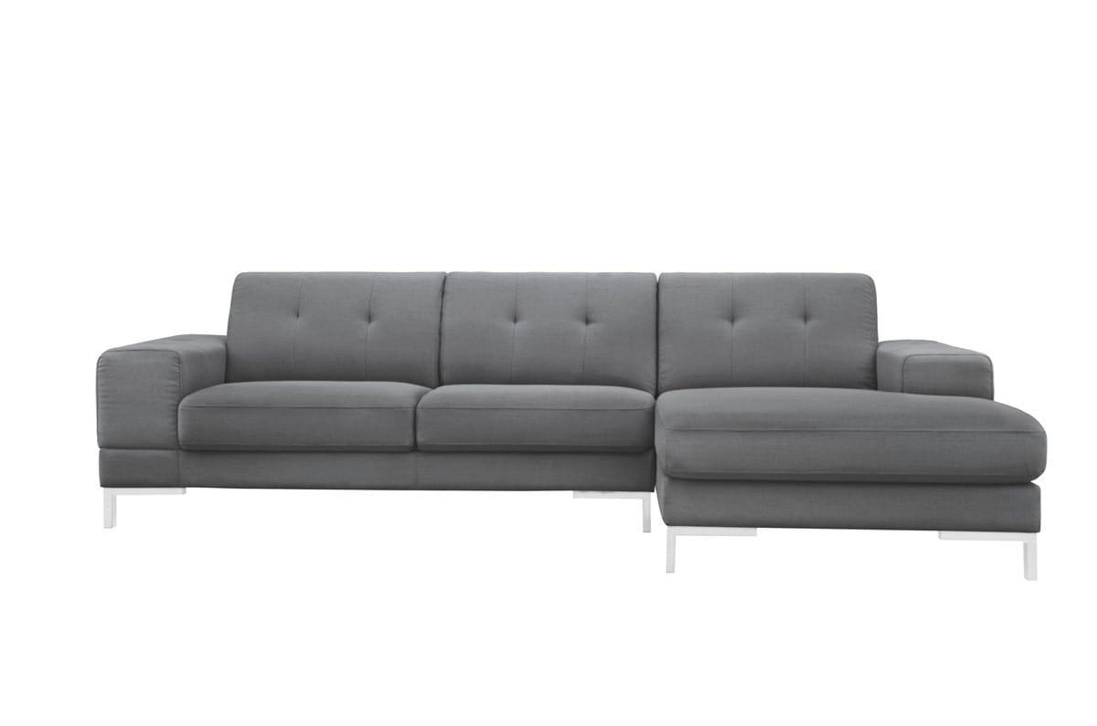 divani casa forli modern grey fabric sectional sofa w right facing chaise by vig furniture