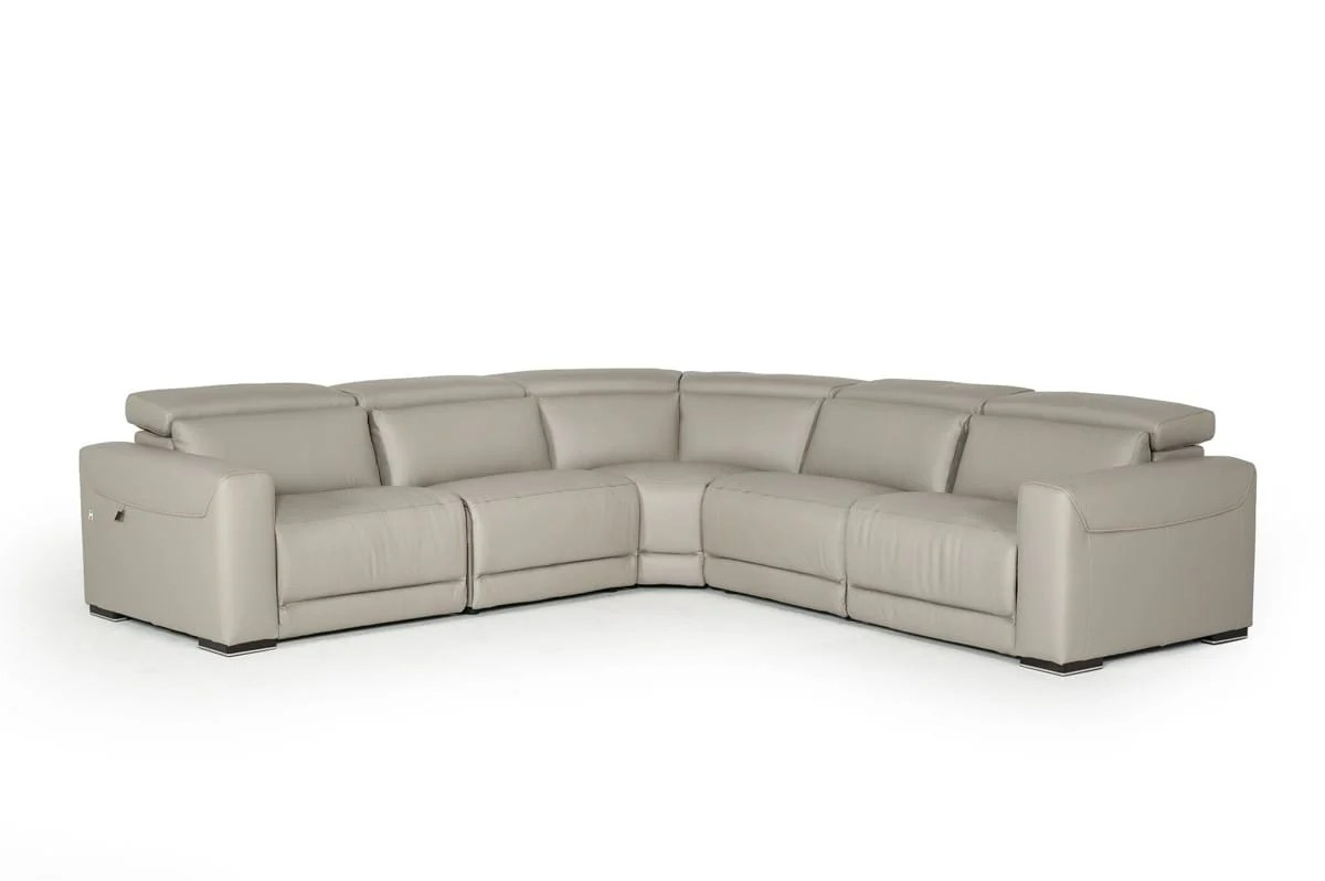 Estro Salotti Thelma Modern Grey Leather Sectional Sofa W Recliners By Vig Furniture