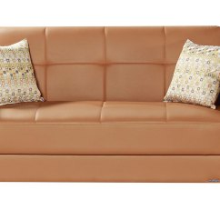 Leatherette Sofa Durability Used White Sectional For Sale Viva Italia Prestige Orange Loveseat Bed By