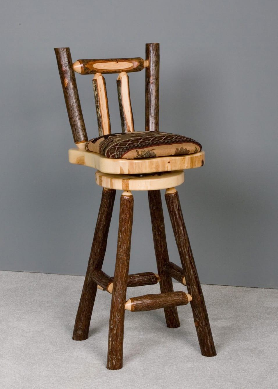 Sawtooth Hickory 30 Bar Stool Upholstered W Back Swivel By Viking Log Furniture