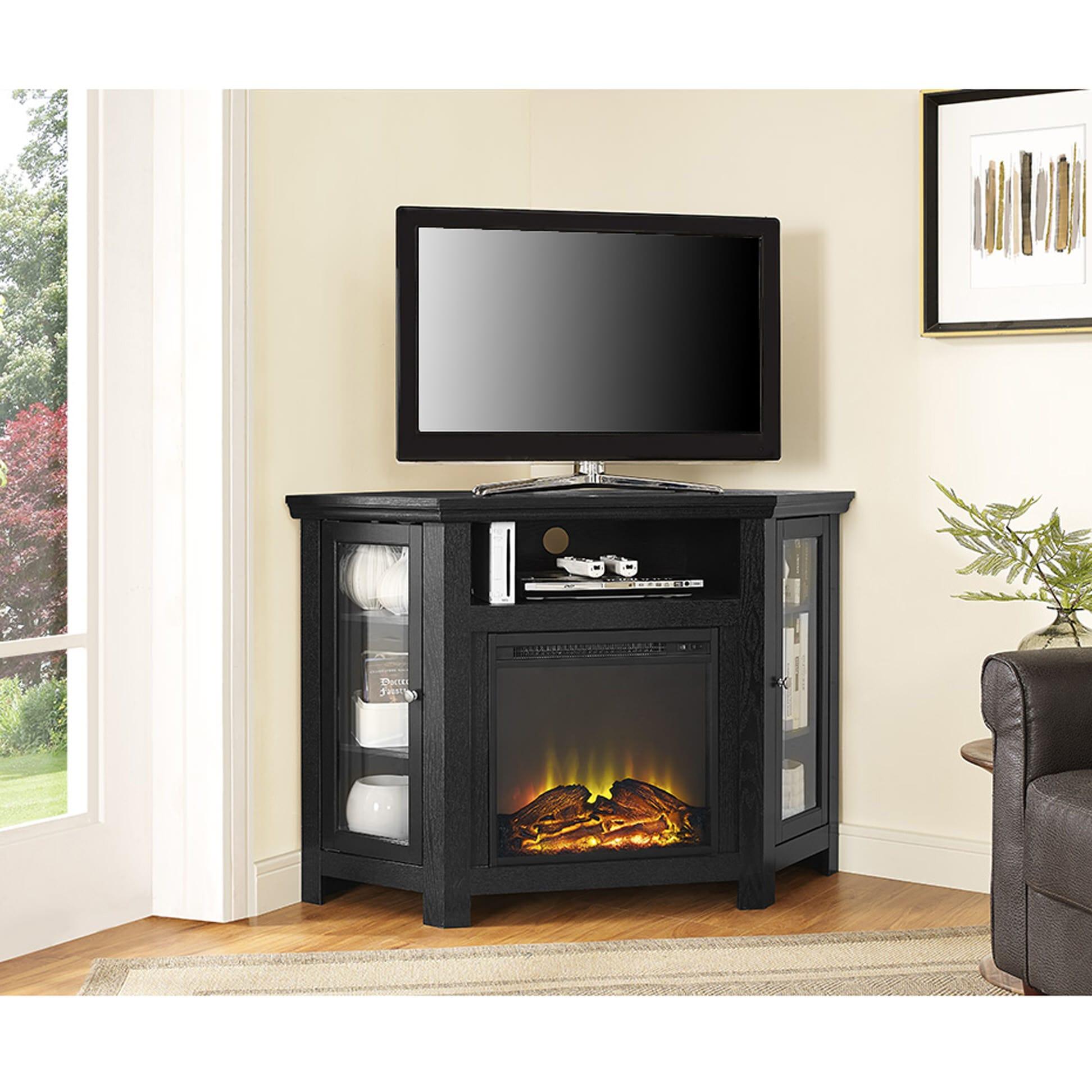 Jackson 48 Inch Corner Fireplace TV Stand  Black by Walker Edison