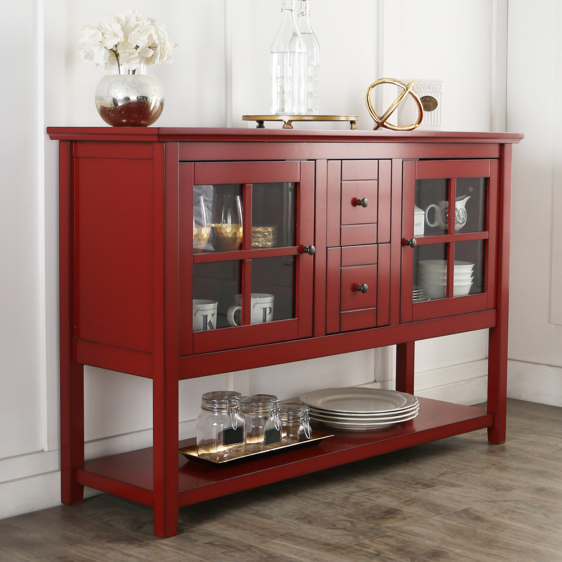 Buffet 52 Inch TV Console Table  Antique Red by Walker Edison