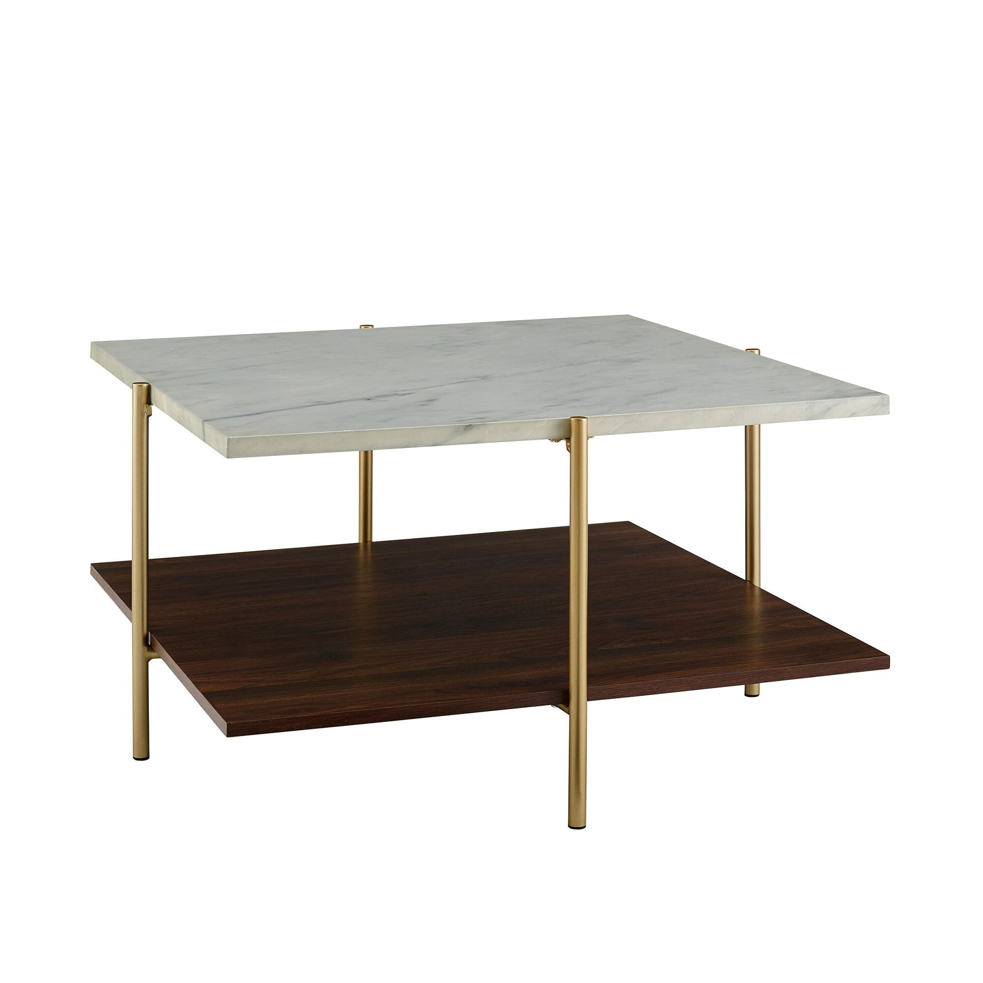 mid century modern square coffee table marble gold by walker edison