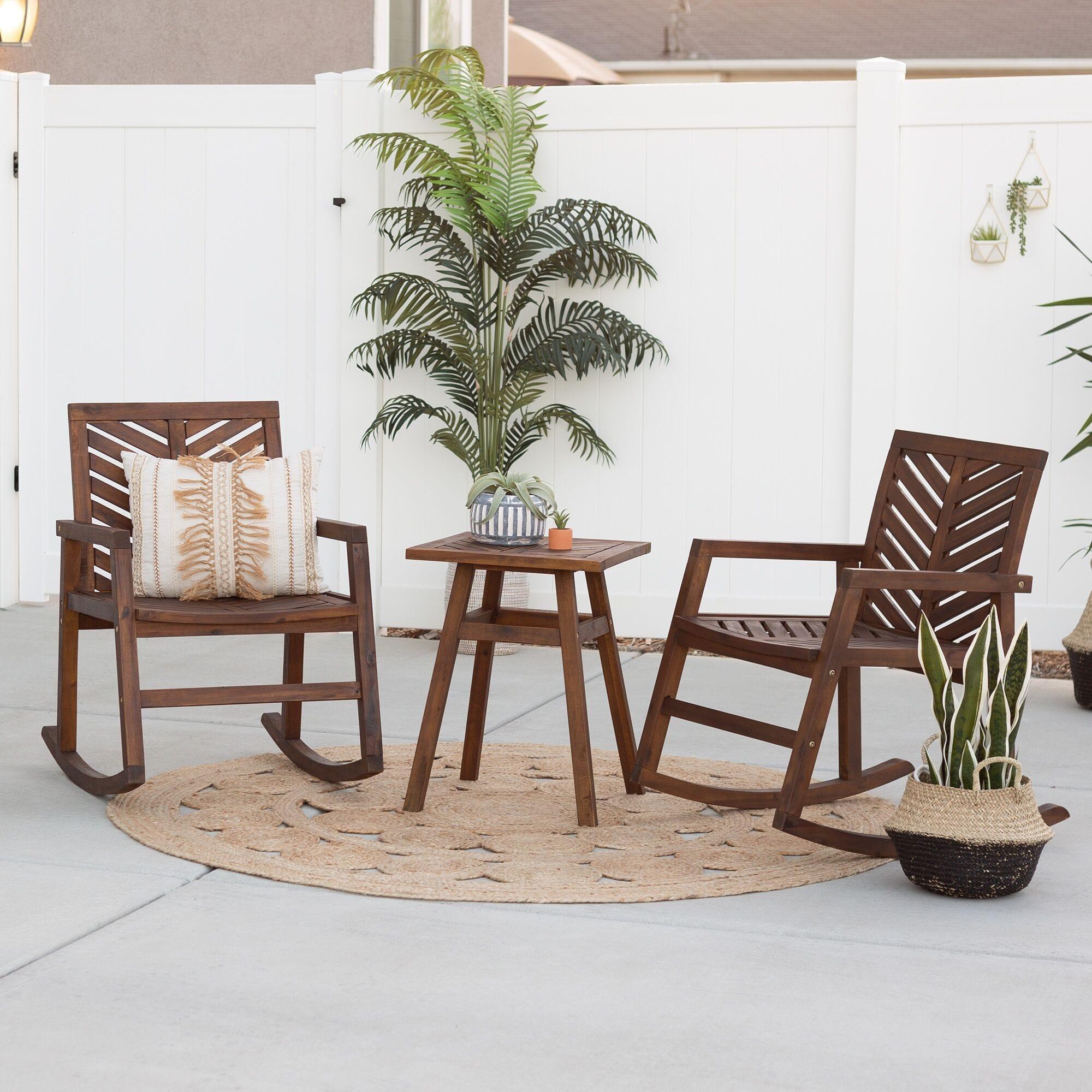 3 piece outdoor rocking chair chat set dark brown by walker edison