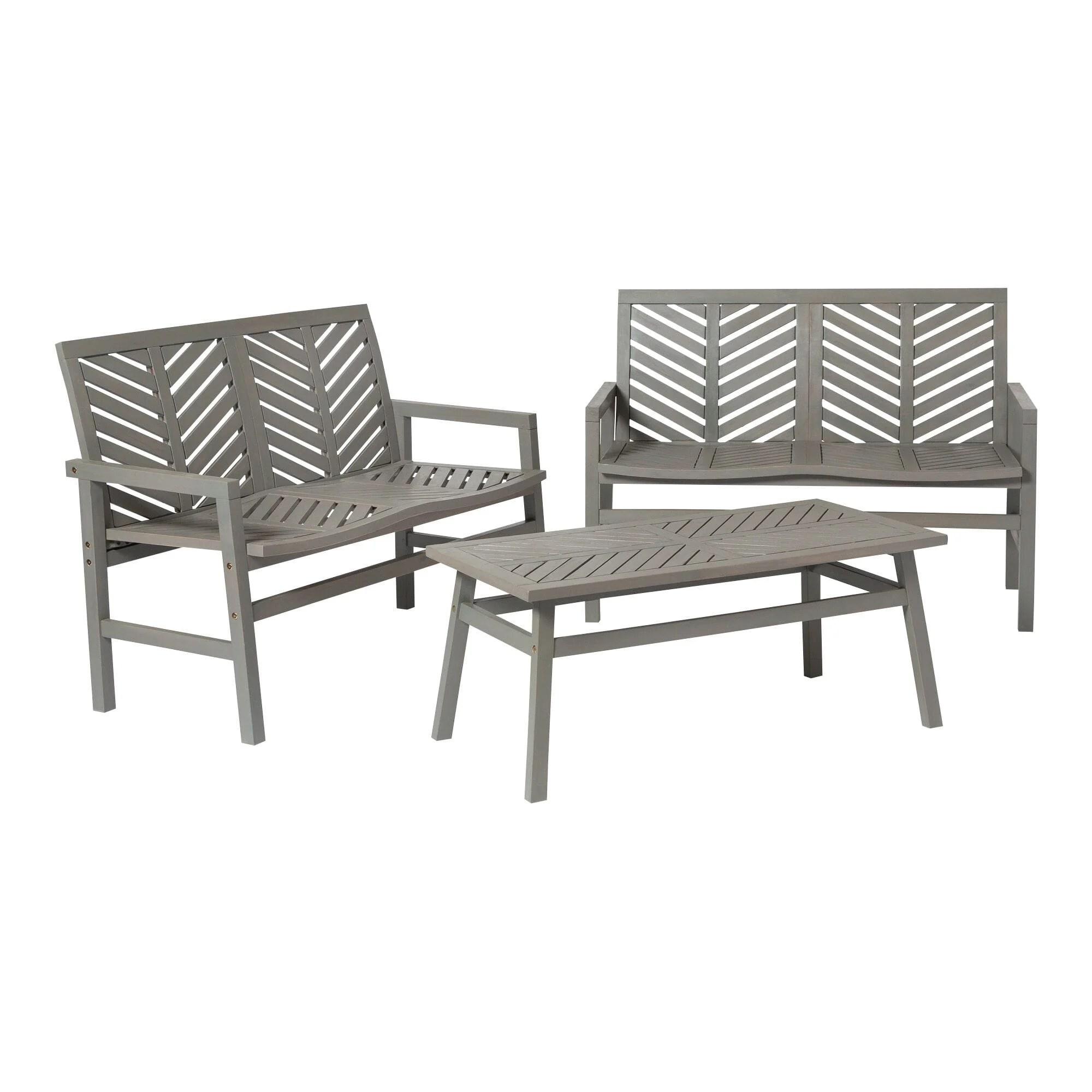 3 piece chevron outdoor patio loveseat chat set grey wash by walker edison